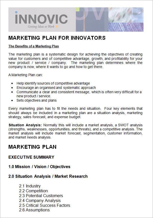 template of marketing plan