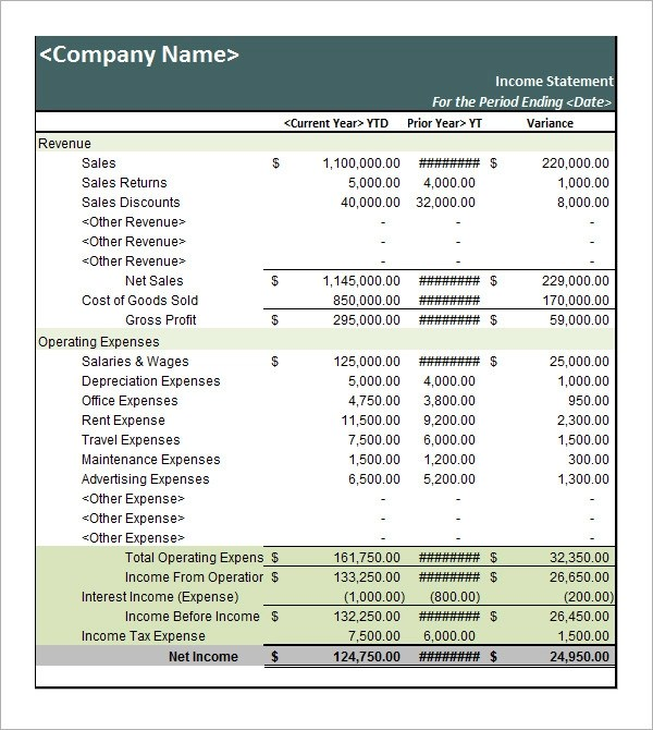 17+ Free Sample Income Statement Templates Sample Templates