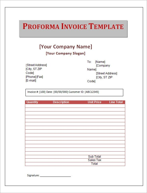 15 Sample Proforma Invoice Template for Download Sample Templates - Proforma Invoice Template Pdf