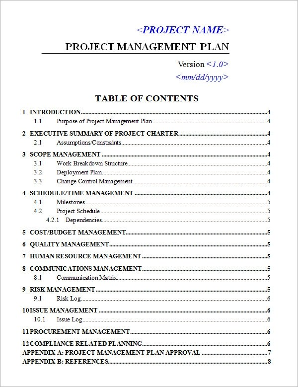 sample project management plan template - project schedule management plan template