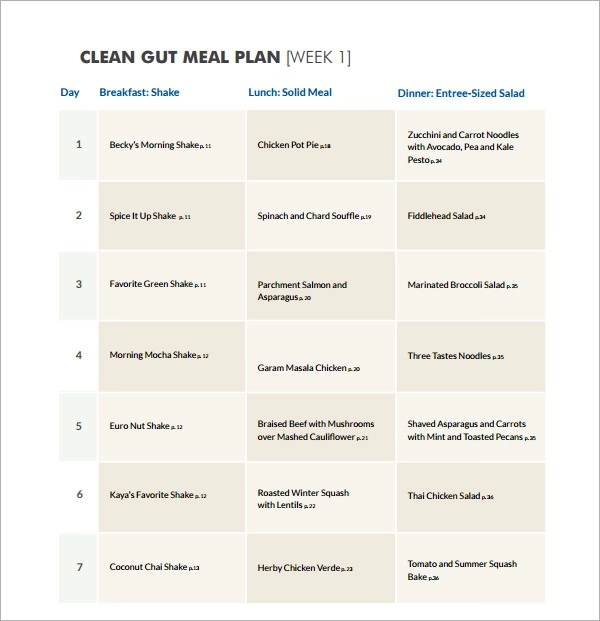 18+ Meal Planning Templates - PDF, Excel, Word