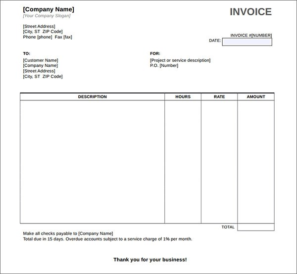 34 Printable Service Invoice Templates Sample Templates - payment invoice template word