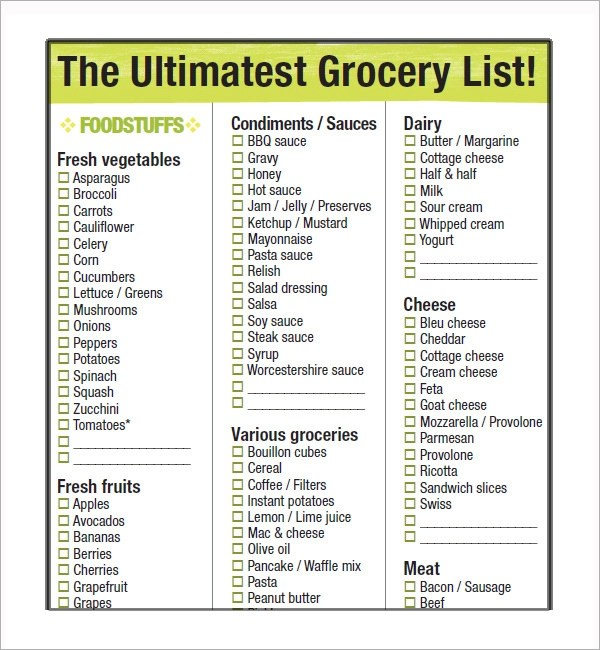 10 Free Printable Grocery List Templates Sample Templates - grocery list template word