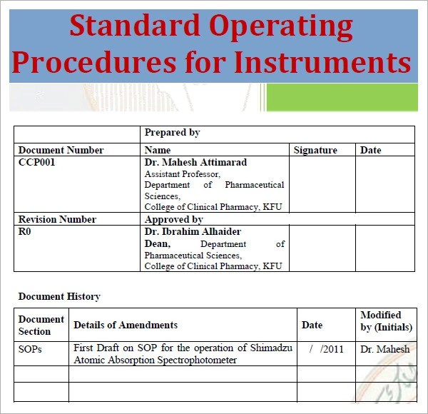 sample standard operating procedure template free - Yenimescale - How To Write A Standard Operating Procedure