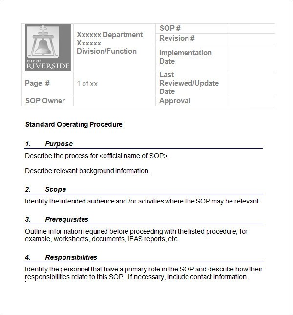 21+ Sample SOP Templates \u2013 PDF, DOC Sample Templates - Free Sop Templates