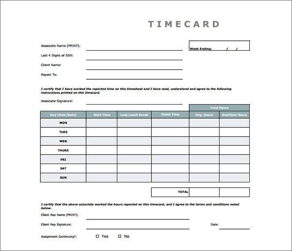 free time card