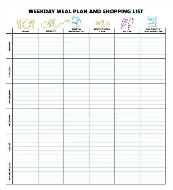 17+ Meal Planning Templates \u2013 PDF, Excel, Word Sample Templates - meal plan template excel