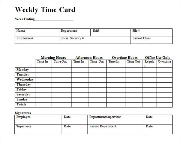 free printable weekly time cards - Ozilalmanoof - free time card template