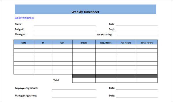 employee weekly timesheet