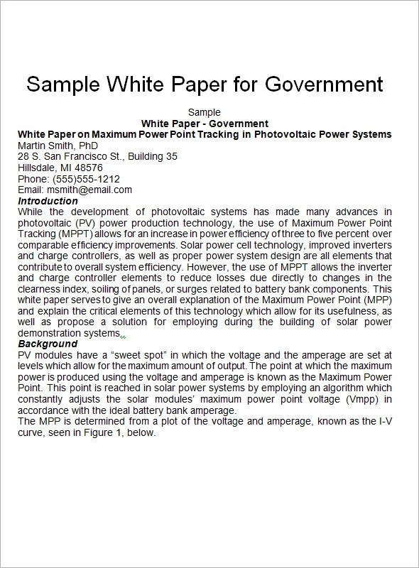 Sample White Paper Template - 12+ Free Documents in PDF, Word - white paper templates