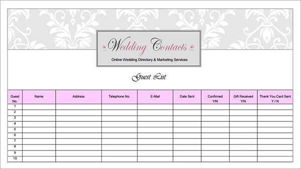 17+ Wedding Guest List Templates \u2013 PDF, Word, Excel Sample Templates