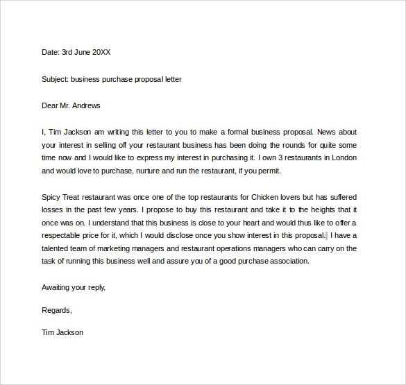 32 Sample Business Proposal Letters - formal proposal example