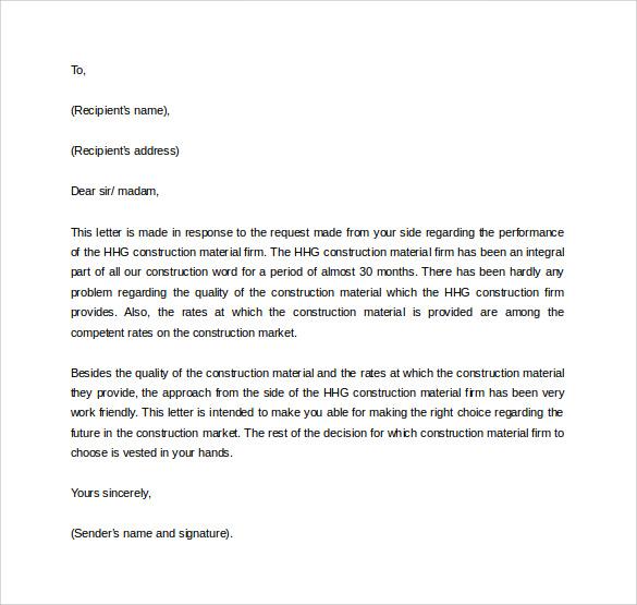 vendor recommendation letter sample
