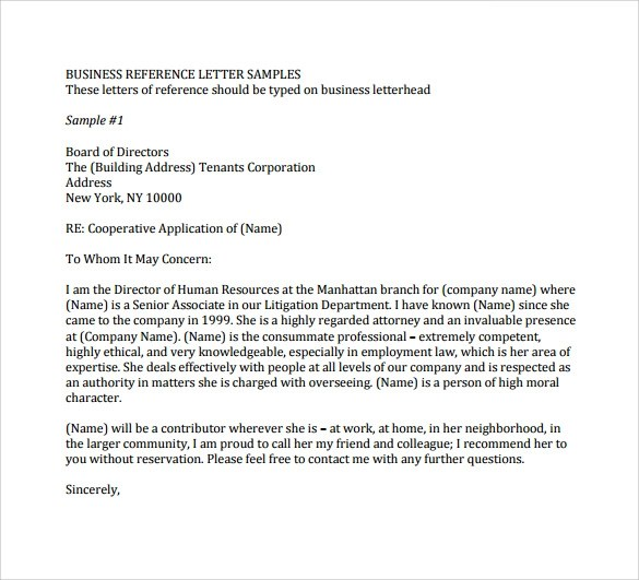 Business Recommendation Letter Sample Business Associate