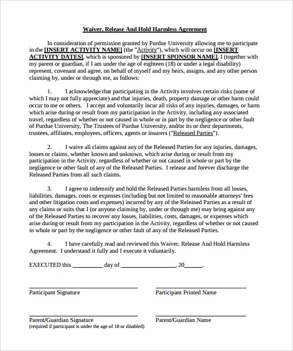 Hold Harmless Agreement - 29+ Download Documents in PDF - liability contract template