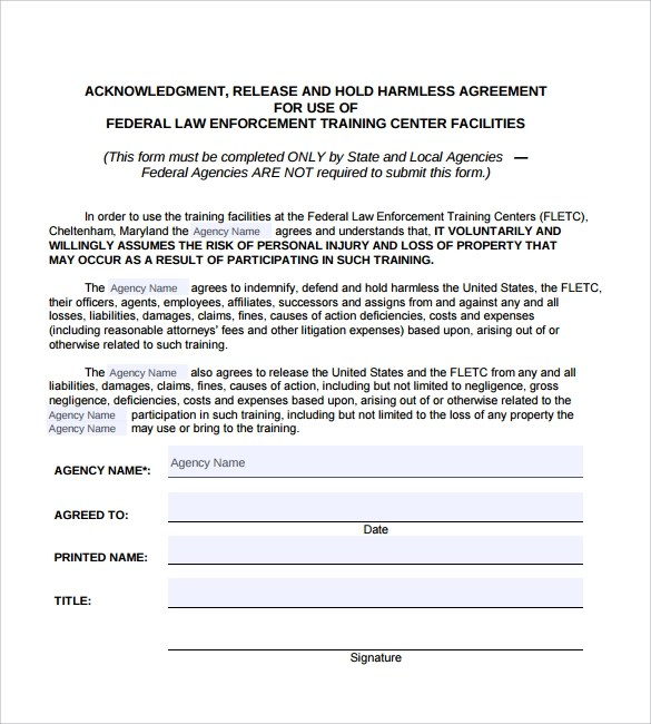 Hold Harmless Agreement - 29+ Download Documents in PDF - indemnity form template