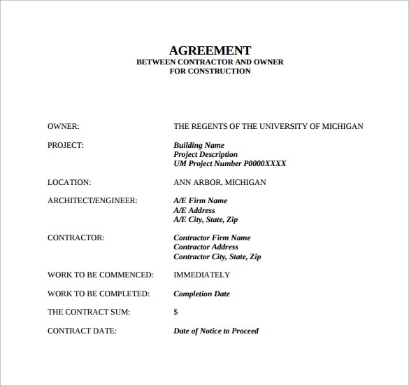Construction Contract Agreement Agreement Contract Sample Free Free - contract for construction work template