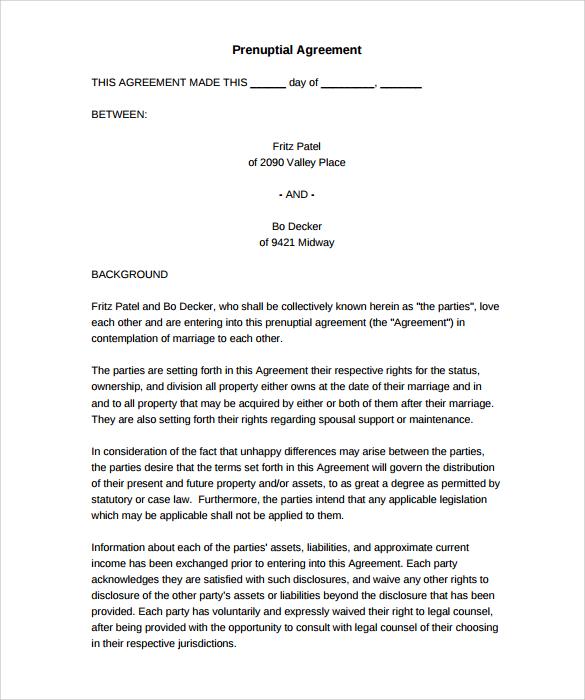 8 Elegant Florida Prenuptial Agreement Form   Daphnemaia