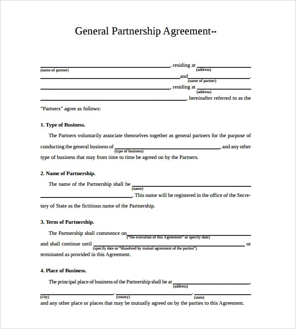 Business Partnership Contract Template Australia  Service