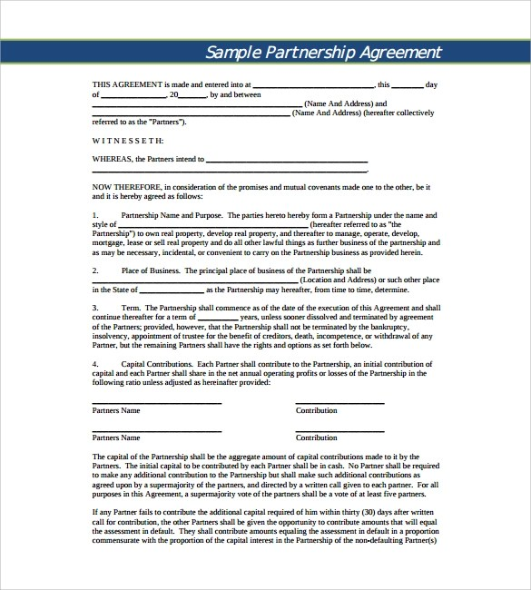 11 Sample Business Partnership Agreement Templates to Download - Sample Business Partnership Agreement