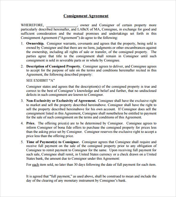 sample consignment agreement template - fototango