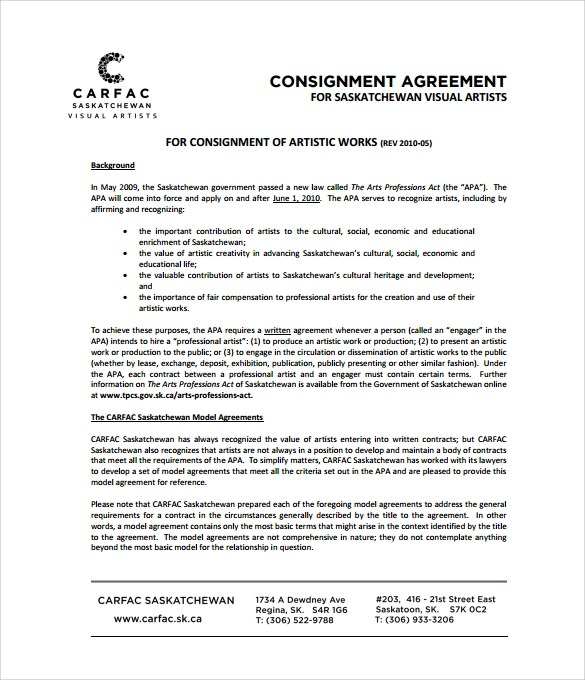 Consignment Agreement - 10+ Download Documents in PDF , Word - sample artist contract template