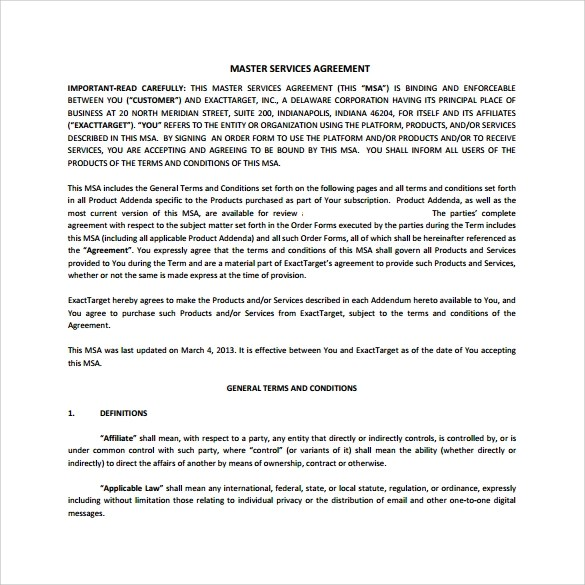 Master Services Agreement For Consulting Services  Format For
