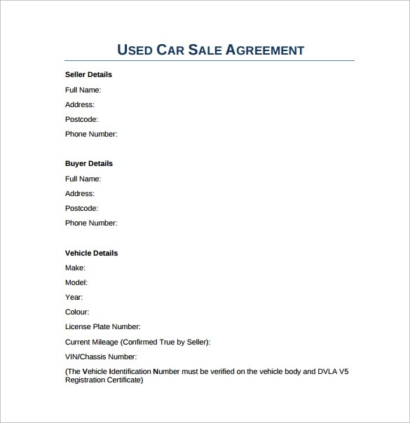Word Sales Contract - vheo - Car Sales Contracts