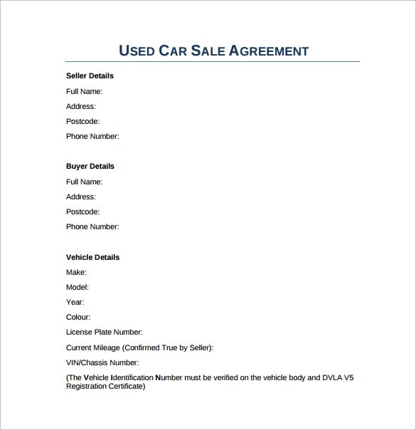 used car sale agreement form