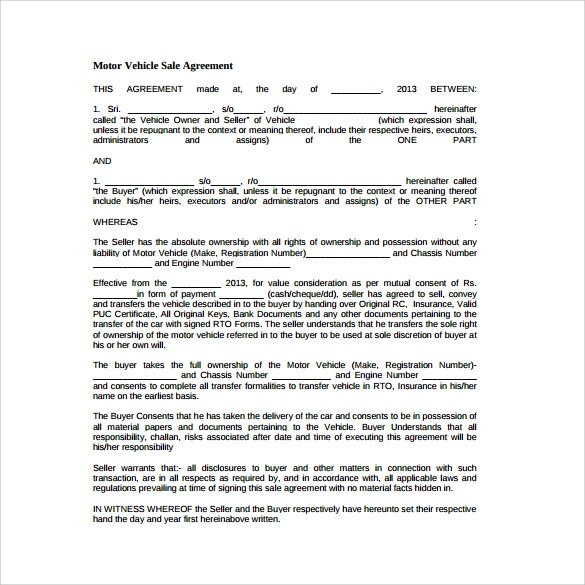 Sales Agreement - 10+ Download Free Documents in Word, PDF - auto purchase agreement template