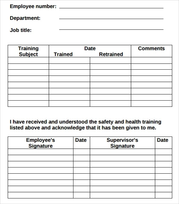 safety training log template - Funfpandroid - training log template