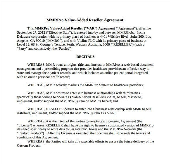sample reseller agreement template – Sample Reseller Agreement