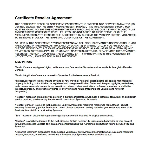 Sample Reseller Agreement – Sample Reseller Agreement Template