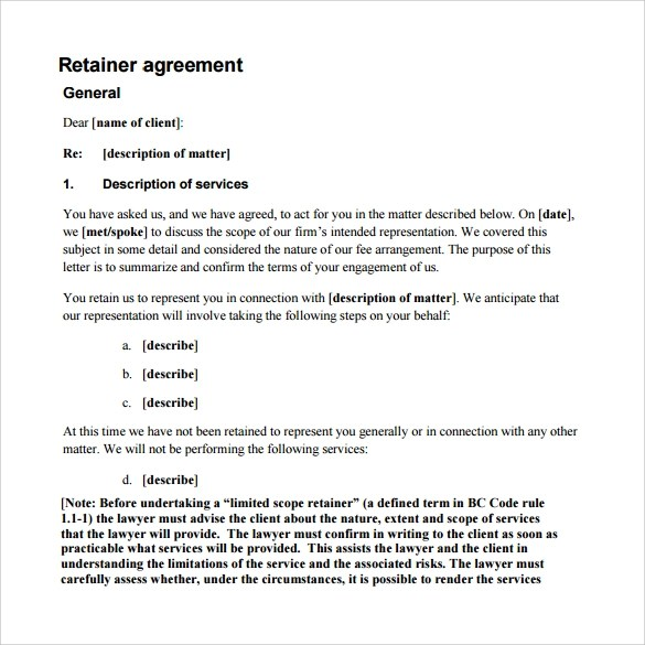 Retainer Agreement Template For Consulting Services – Consulting Service Agreement