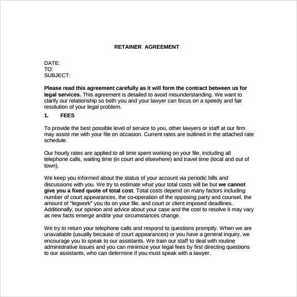 Attorney Retainer Agreement Template Legal Invoice Template For