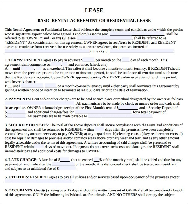 10 Sample Lease Agreement Templates to Download Sample Templates