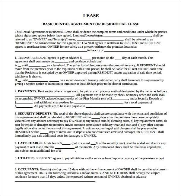 Sample Lease Agreement - 9+ Free Documents In PDF - sample pasture lease agreement template