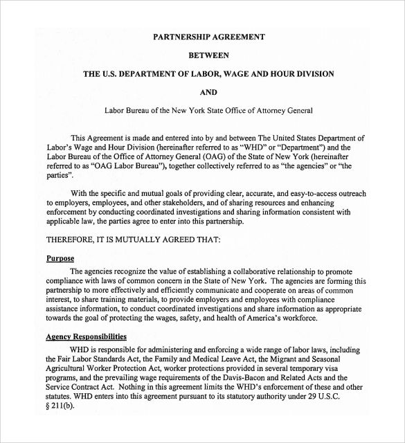 partnership document template