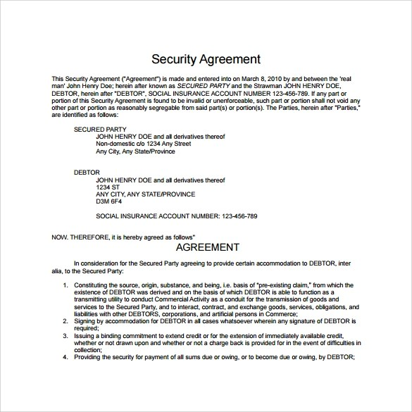 10 Sample Free Security Agreement Templates Sample Templates - security agreement template