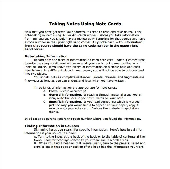 research paper note card template