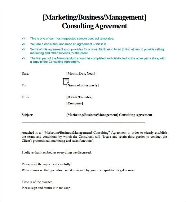 10 Sample Free Consulting Agreement Templates Sample Templates - consulting agreement