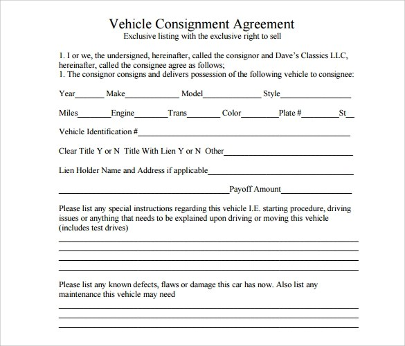 automobile consignment form - Mersn.proforum.co