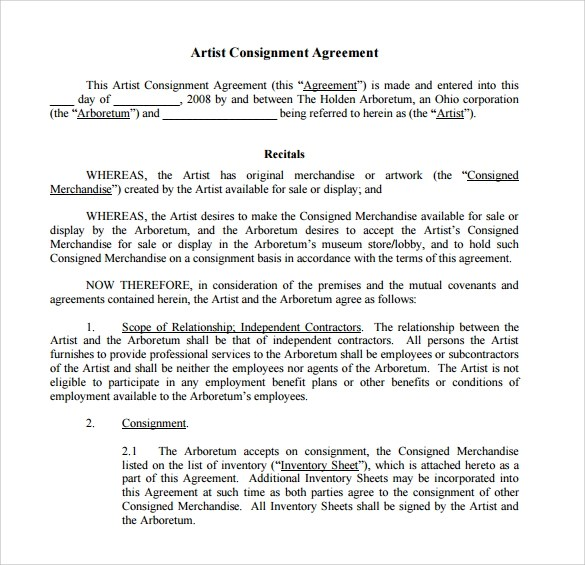 16 Sample Consignment Agreement Templates to Download Sample Templates