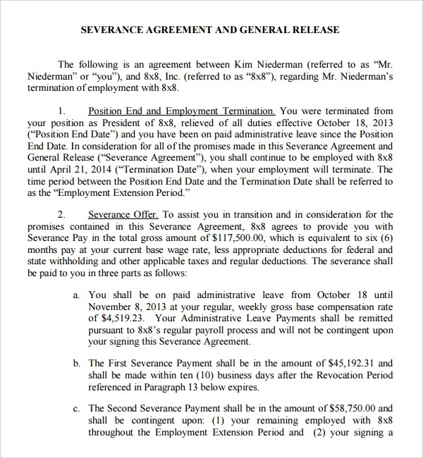 Sample Severance Agreement - 7+ Documents In PDF, Word
