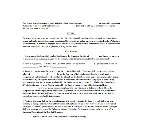 10 Free Sample Executive Agreement Templates Sample Templates