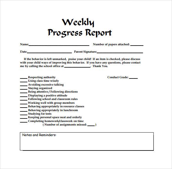 weekly work progress report template