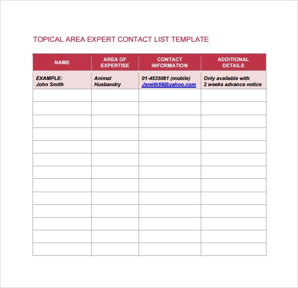 contact list template word - contacts list template