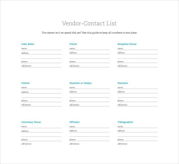 contact list template word - contact list