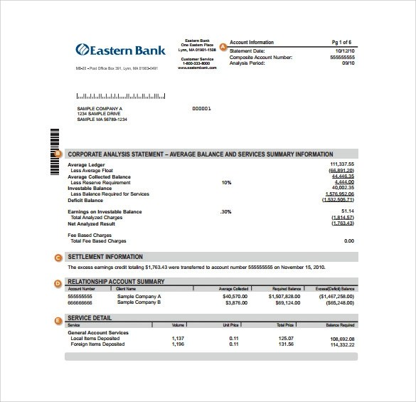 19+ Sample Bank Statements Sample Templates - method statements examples