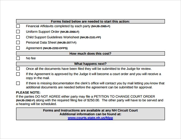 Legal Costs Agreement Template – Child Support Agreement Template